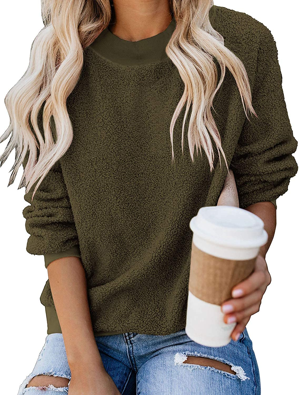 GRAPENT Women's Casual Crewneck Fuzzy Sweatshirt Fleece store Th Boston Mall Terry