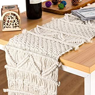 O-heart Macrame Table Runner 72 inches, Handwoven Boho Farmhouse Table Runners with Tassels for Bohemian Bridal Shower, El...