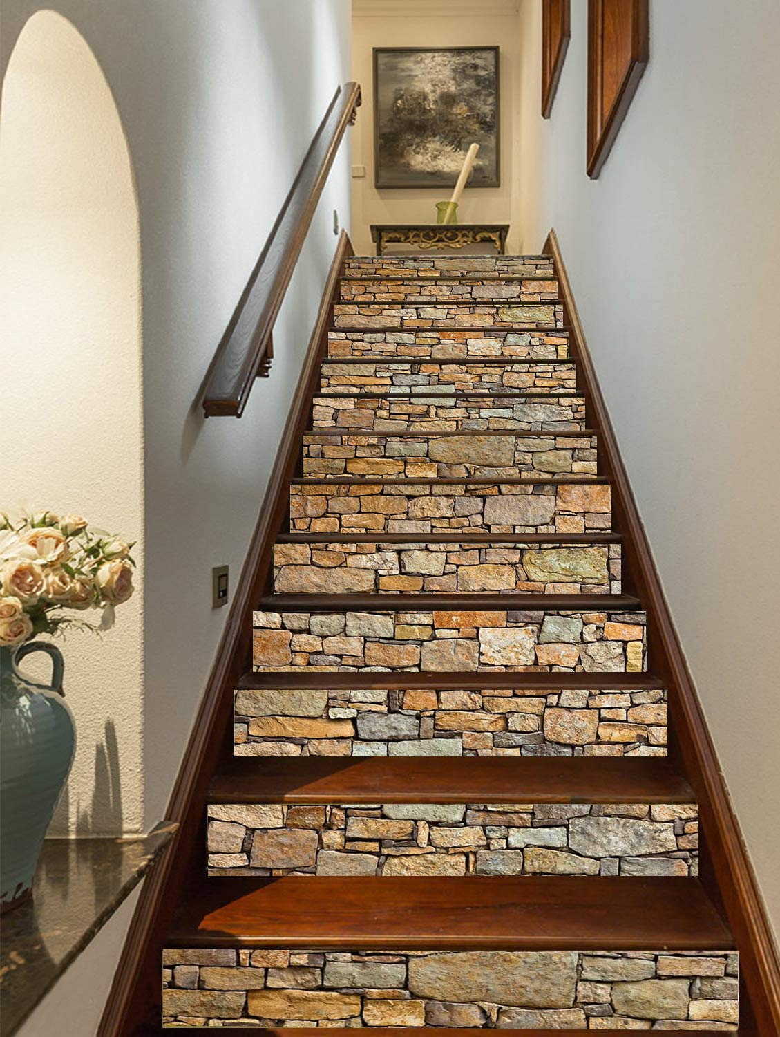 3d brick stair stickers decals stone staircase decals removable tile stair risers decals decor peel and stick wallpaper decals for stair 13 pcs set
