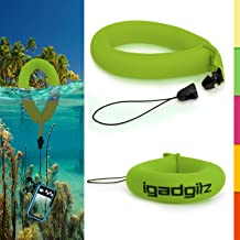 iGadgitz 1 Pack Standard Green Waterproof Floating Wrist Strap Suitable for Nikon 1 AW1, Coolpix AW110, AW100, AW130, S31, S30, S33 Cameras