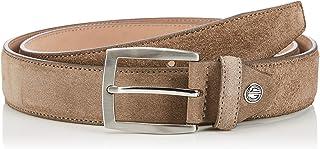 LINDENMANN Mens leather belt/Mens belt, suede leather belt curved, nature