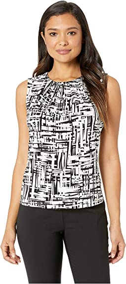 Printed Pleat Neck Cami