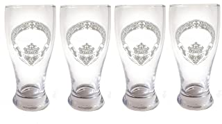 Claddagh Pint Glass Set of 4- Free Personalized Engraving, Anniversary gift, Irish Beer Glass