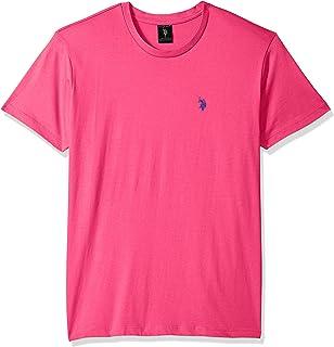 يو.اس. بولو اسن . تي شيرت رجالي برقبة دائرية صغير على شكل حصان باللون الوردي الكاريبي، مقاس S