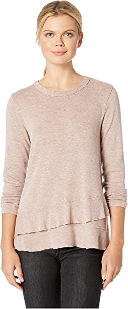 So Soft Sweater Knit Long Sleeve Pullover with Asymmetrical Flounce Hem
