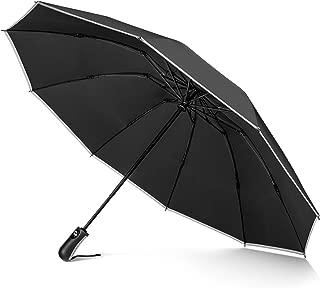 Veckle Umbrella, Safety Auto Open/Close Compact Umbrella Windproof Umbrella with Teflon Coating, Automatic Windproof Foldable Rain Umbrella, Travel Umbrella, Ergonomic Non-Slip Handle, Black