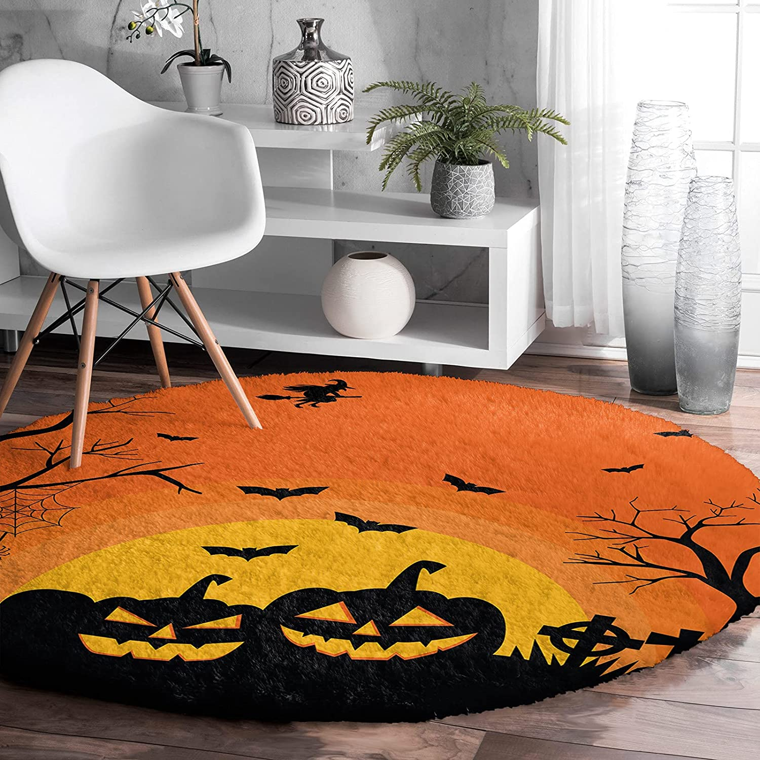 EwdeWwo Shag Ranking TOP8 Area Rug 5ft Fixed price for sale Indoor Halloween Rugs- Sty Round