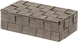 Compactor, Boîte avec Couvercle, Sangle Tressée, Marron, Dimensions: 21 x 12 x H.5,5 cm, RAN8555