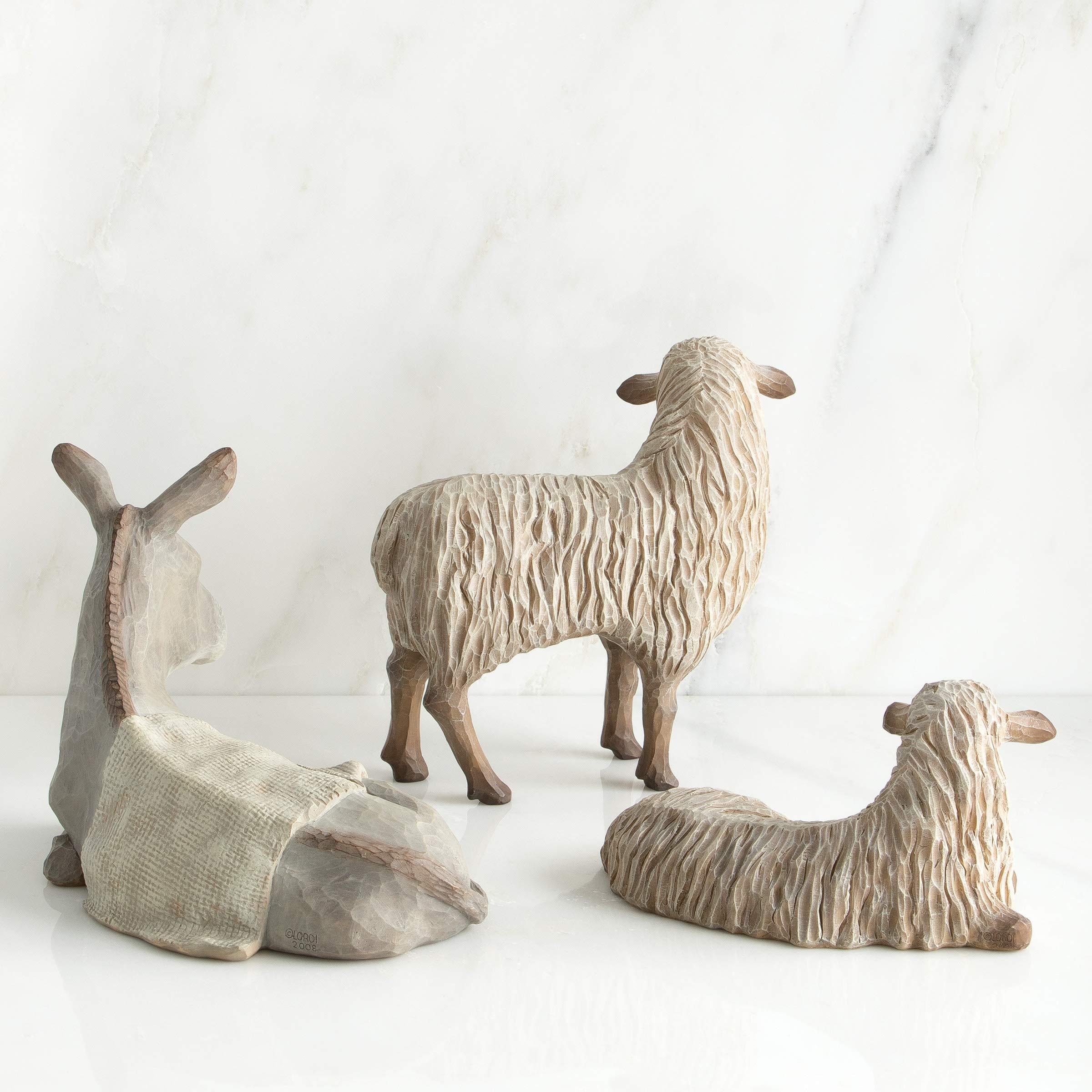 Demdaco WILLOW TREE NATIVITY 4 Piece Shepherd /& Animals 7137143