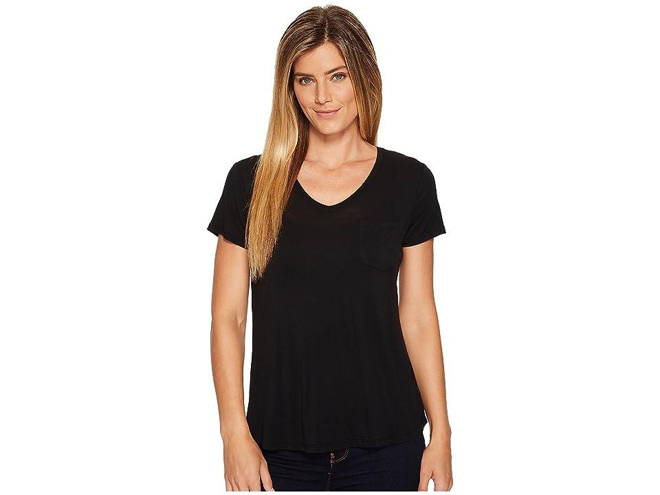 Prana Foundation Short Sleeve V-Neck Top (Black) Women