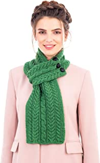Ladies 100% Merino Wool Irish Aran Cable Knit Scarf Wrap with Buttons