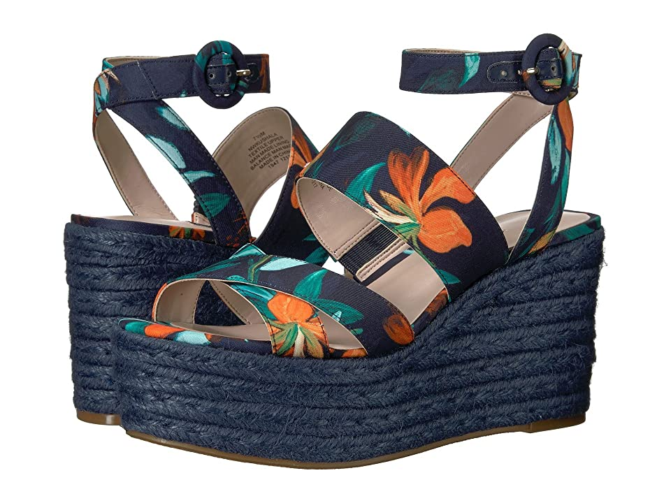Nine West Kushala Espadrille Wedge Sandal (Navy Multi Fabric) Women