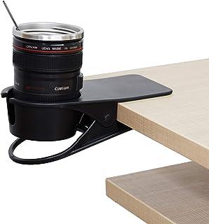 F-KING 飲料 カップ ホルダー クリップ、デスク カップ ホルダー、テーブル エッジ クランプ カップ ホルダー、水 ガラス、コーヒー マグ、飲料、携帯電話。ベスト オフィス アクセサリー。 ブラック