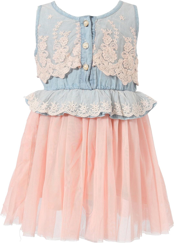 Richie House Girls' Sweet Layered Mesh Bottom Dress RH1846