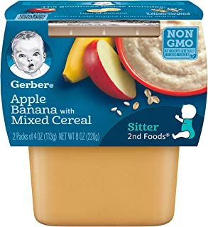 Gerber 2nd Foods, Apple & Banana with Mixed Cereal Pureed Baby Food, 4 Ounce Tubs, 2 Count (Pack of 8)