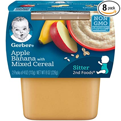Gerber 2nd Foods Apple Banana With Mixed Cereal Pureed Baby Food 4 Ounce Tubs 2 Count Pack Of 8 Amazon Com Grocery Gourmet Food