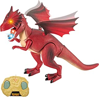 Liberty Imports Dino Planet Remote Control RC Walking Dinosaur Toy with Shaking Head, Light Up Eyes and Sounds (Fire Dragon)
