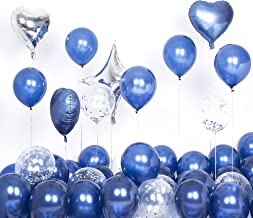 Latex Navy Blue Balloons Silver Confetti Balloons12inch Pack of 50 for Boy Baby Shower Decorations Bachelorette Wedding Birthday Party Decor