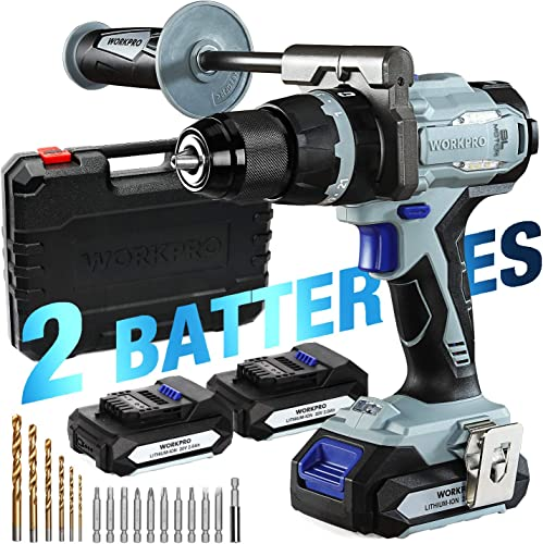 """wholesale WORKPRO 20V Brushless Cordless Drill, with 2 Batteries(2.0 Ah) and Auxiliary Handle, 487 IN-LBS 21+3 Torque Setting, 1/2"""" Chuck, online 21 Pieces Drill Driver Kit with Hard Carrying high quality Case outlet online sale"""