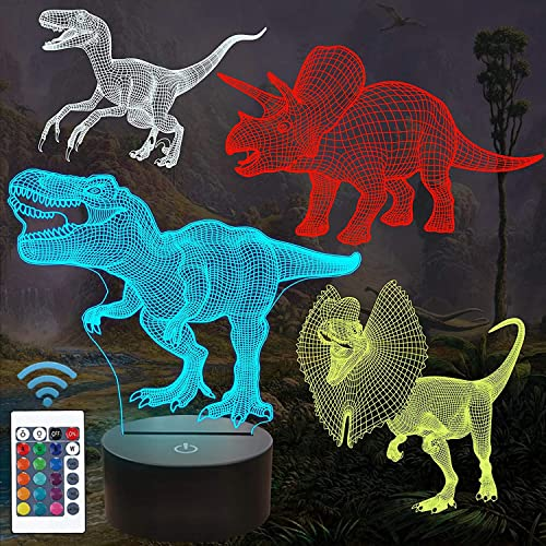 Dinosaur Bedside Lamp, 3D Hologram Illusion Night Light for Kids (4 Patterns) with Remote Control 16 Colors Changing ...