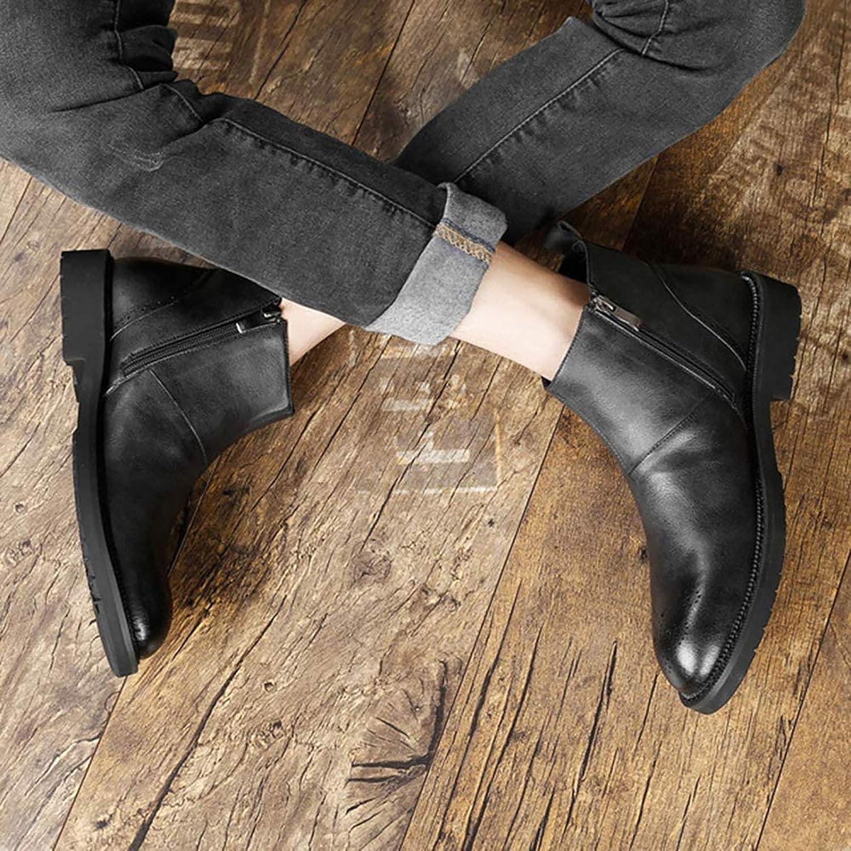 PLAYH Vestido De Hombre Casual Puntera Chelsea Botas Cl/ásicas Estilo Occidental De Hombre Botas De Vaquero Cuero Invierno Tobillo Elegante con Cordones Color : Brown, Size : 37