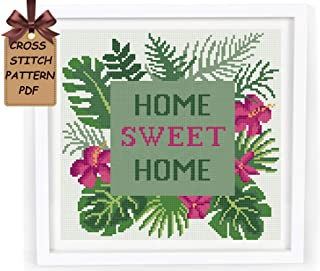 Cross stitch patterns flowers pdf, floral tropical easy cross stitch sampler design for beginners, home sweet home modern counted cross stitch chart, home wall decor DIY