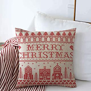 Starodal Throw Pillow Case Nordic Red Bauble Christmas Pattern Winter Wonderland Village Tree Merry Holidays Bell Craft Cross Farmhouse Decor Square Pillowcase Covers 20