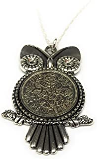Owl Pendant 1959 Lucky Sixpence 60th Birthday Plus a Sterling Silver 18in Chain