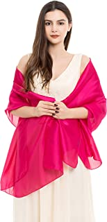 Womens Luxurious Soft Satin Long Chiffon Bridal Scarf Shawl Wraps Pashmina for Evening Party