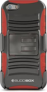 iPhone 5s Case, BUDDIBOX [HSeries] Heavy Duty Swivel Belt Clip Holster with Kickstand Maximal Protection Case for Apple iPhone 5 and 5s, (Red)