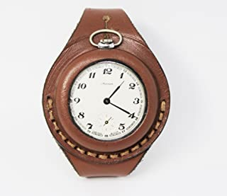 45mm NEW hand-made Leather Brown Strap Band for Pocket Watch military style WW1 WW2 …