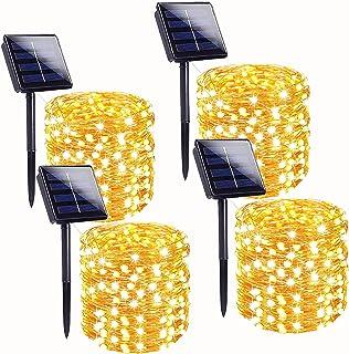 Super Bright 4-Pack 400 LED Solar String Lights Outdoor (Upgraded Larger LED Beads), Waterproof Solar Lights Outdoor 8 Mod...