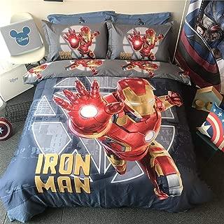 Cenarious Marvel Iron Man Grey Boys Cartoon Style Duvet Cover Set Cotton Flat Sheet Bed Cover - 4Pcs Bedding Set - Queen Flat Sheet Set - 86
