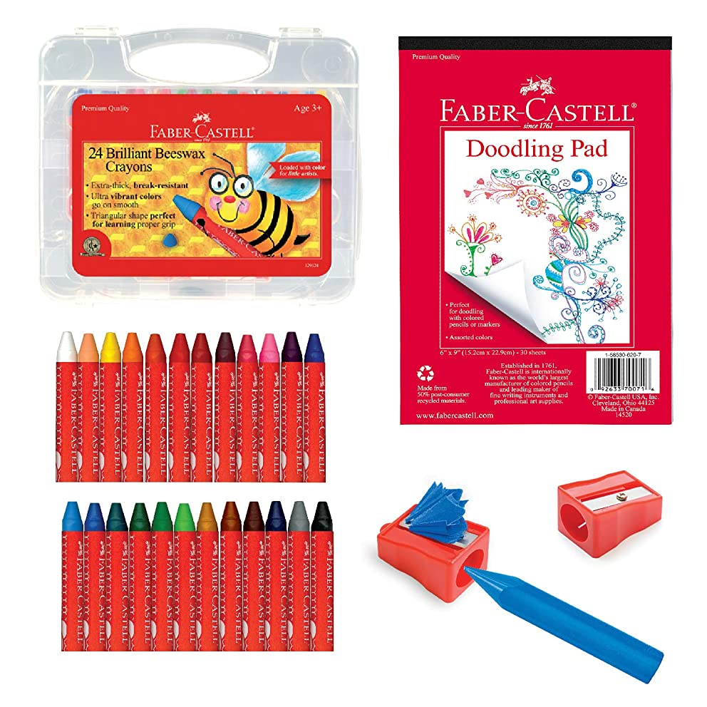 Faber Castell Back to School Beeswax Crayon Coloring Set - 24 Beeswax Crayons, Crayon Sharpener & Doodle Pad