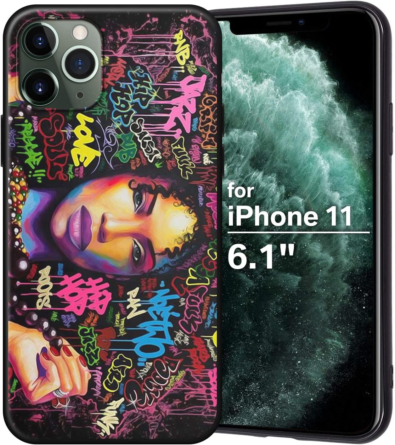 XIX iPhone 11 Case African American Afro Girls Women Slim Fit Shockproof Bumper Cell Phone Accessories Thin Soft Black TPU Protective Apple iPhone 11 Cases (04)