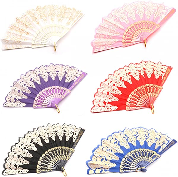 SenseYo 6 Pcs Rose Lace Folding Hand Held Fans Bulk For Women Spanish Chinese Japanese Vintage Retro Folding Fans For Wedding Church Party Gifts