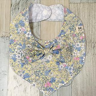 Jam's Ukulele/MRM-111-2 ベビースタイ ビブ よだれかけ 女の子 ブルー ピンク 花柄 4重ガーゼ ダブルガーゼ ハンドメイド 手作り 出産祝い プレゼント