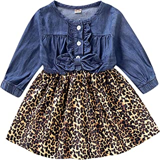 Toddler Girls Thanksgiving Dress Baby Denim Ruffle Long Sleeve Top Leopard Print Skirt Playwear Clothing Set