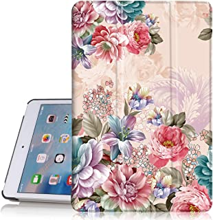 Hocase iPad Mini 4 Case, PU Leather Smart Case w/Cute Floral Print, Auto Sleep/Wake Feature, Microfiber Lining Hard Back Cover for iPad Model A1538/A1550 (2015) - Peony Flowers