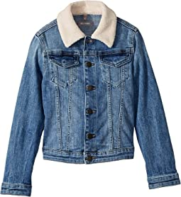 Manning Mid Wash Denim Jacket with Pink Sherpa Collar and Heart Embroidered On Back (Big Kids)