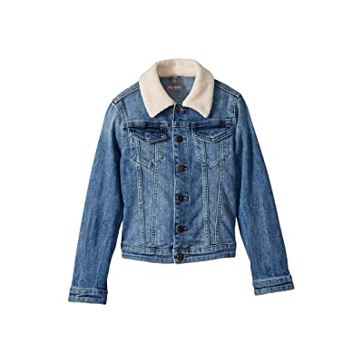 DL1961 Kids Manning Mid Wash Denim Jacket with Pink Sherpa Collar and Heart Embroidered On Back (Big Kids) (Breaker Blue) Girl