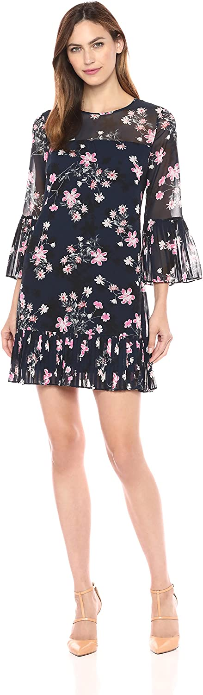 Eliza J Womens Bell Sleeve Dress with Pleated Hem Dress