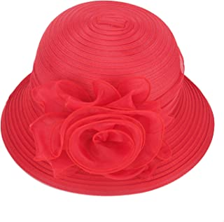 Pure Color 1920s Womens Summer Organza Bowler Sun Hat Derby Tea Party A267