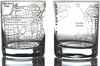 Greenline Goods Whiskey Glasses - 10 Oz Tumbler Gift Set for San Francisco lovers, Etched with San Francisco Map | Old Fas...