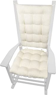 Ticking Stripe Natural Rocking Chair Cushions - Extra-Large - Reversible, Latex Foam Filled Seat Pad and Back Rest - Made in USA (Presidential/Beige - Ivory)