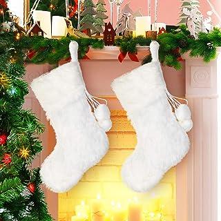 Boao 2 Stücke 20 Zoll Weihnachten Strümpfe Schneebedeckt Weiß Kunst Pelz Weihnachten Strumpf für Urlaub Party Weihnachten Kamin Dekorationen (Weiß Kunst Pelz Strumpf)