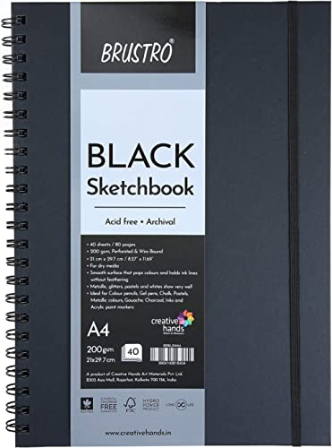 Brustro Black Sketchbook, Wiro Bound, Size A4, 200GSM (40 Sheets) 80 Pages