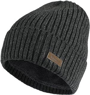 Vmevo Wool Cuffed Beanie Hat Warm Winter Knit Hats Unisex Skull Cap with Lining