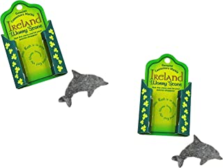 TWO Irish Connemara Marble Dolphin Worry Stones