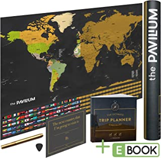 Scratch Off Map of The World - with US States Outlined and Country Flags - Scratcher Included. This Scratch Map/Poster Board is The Perfect Gift for Travelers.